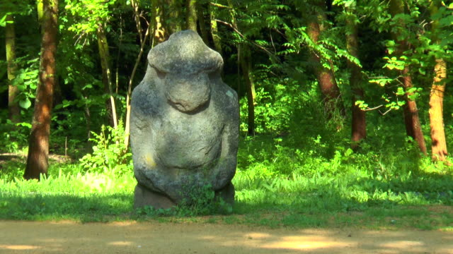 Stone images - Scythian statue. In the woods on a background of  trees video