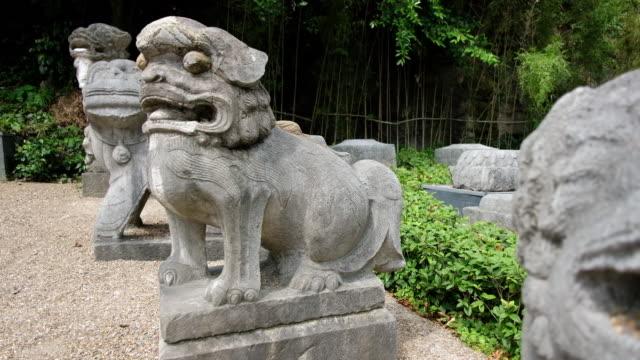 Stone lion statues