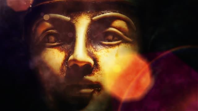 stone farao tutankhamen mask - egyptisk kultur bildbanksvideor och videomaterial från bakom kulisserna