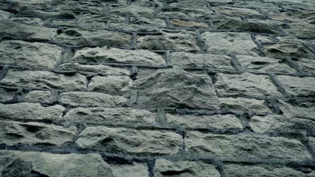 石垣ローアングル移動ショット - セメント点の映像素材/bロール