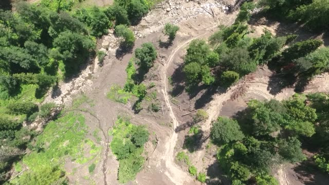 Stony bed of a dried-up mountain river. Aerial view.