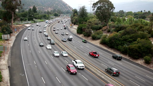 Stop and go Los Angeles freeway traffic video