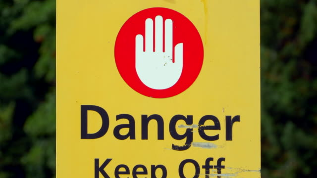 Stop Danger Sign Hand, Yellow Warning Message, Slow Zoom into Symbol video