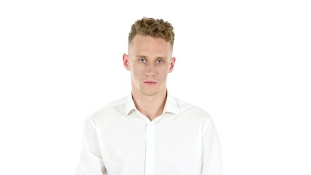 Stop Gesture by Stopping Businessman on White Background video