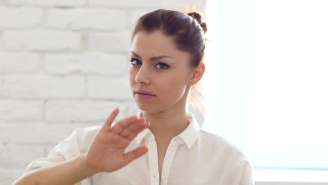 Stop, Gesture by Woman in Office video