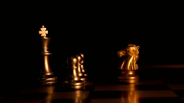 Stop Motion Animation. Chess game success victory winner concept.