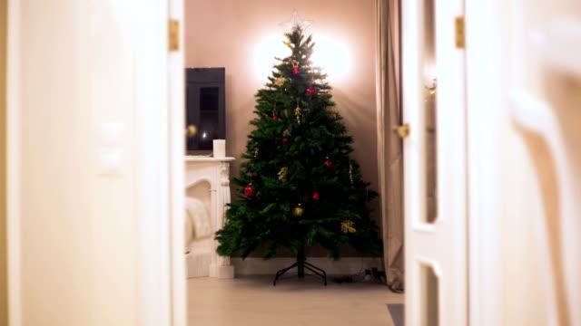 stop motion. christmas tree is gradually emerging balls, garlands, lights illumination. no people - ornato video stock e b–roll