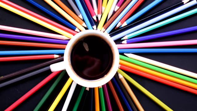 Stop motion colorful pencil and coffee cup ,4K video video
