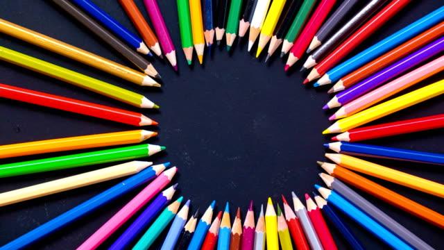 stop motion färgglada penna - blyertspenna bildbanksvideor och videomaterial från bakom kulisserna