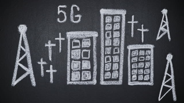 Stop motion dangerous 5G towers drawn on chalkboard bringing death to people video