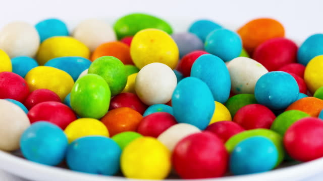 Stop motion of a assorted jelly beans. Colorful sweet candy background