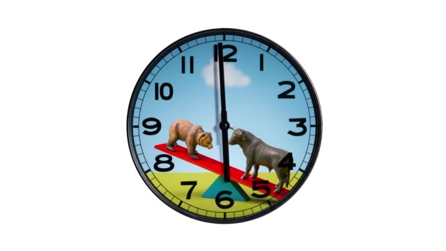 Stop Motion of Bulls and Bears Clock Stop motion of clock with stock market bulls and bears graphic. wall clock stock videos & royalty-free footage