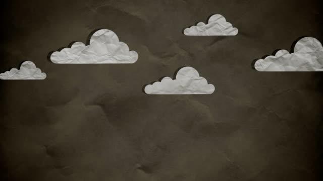 vídeos de stock e filmes b-roll de stop motion papel nuvens movendo-se em câmara lenta - continuidade