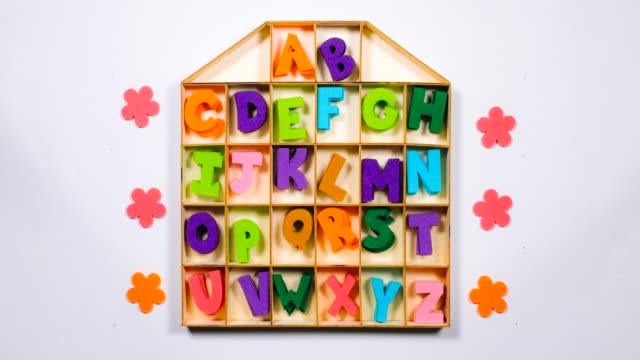 Stop Motion. The English alphabet moves in the cells of the house.