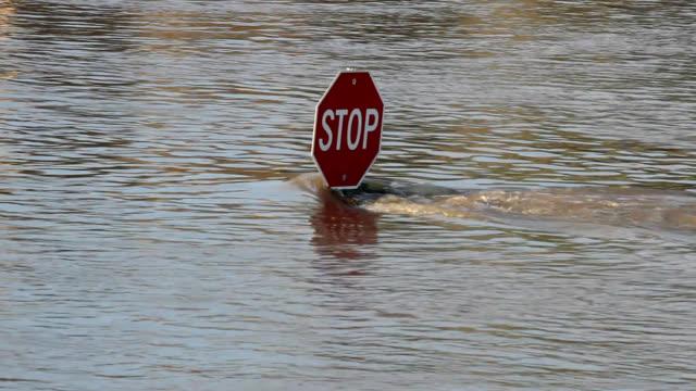 segnale di stop nell'acqua alta di strada all'incrocio - pioggia torrenziale video stock e b–roll
