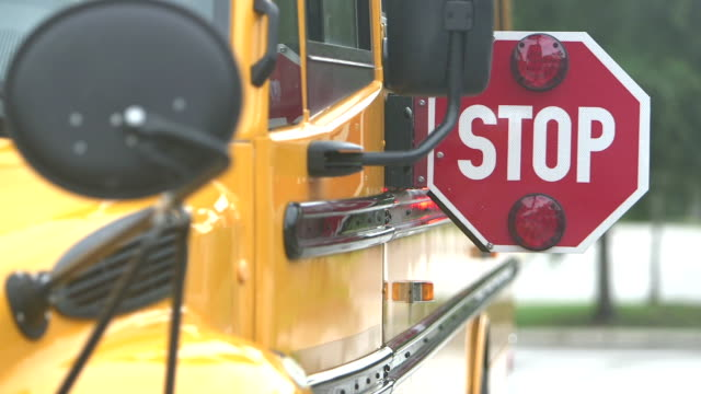 stop sign on school bus - school buses stock videos and b-roll footage