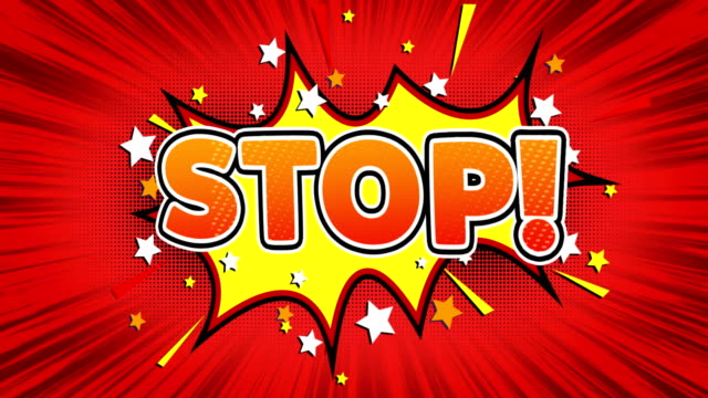 Stop!  Text Pop Art Style Comic Expression.