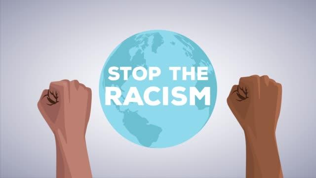 手を上げて人種差別運動を止め、地球を作る - 拳 イラスト点の映像素材/bロール