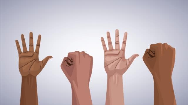 人間を手を挙げて人種差別運動を止める - 拳 イラスト点の映像素材/bロール