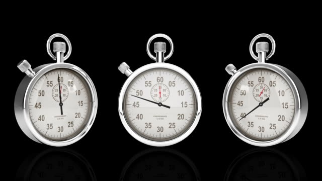 Stop Watch Time Lapse against black, Three Different Angles, Alpha video