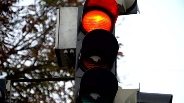 Stoplight. Traffic lights work in a big city at a crossroads. video