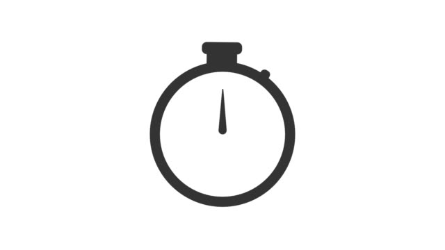 Stopwatch animated icon. Clock with moving arrows. Loop. Alpha channel. 4k animation