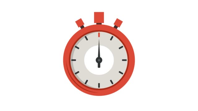 Stopwatch icon. Cartoon animation. 4K resolution.