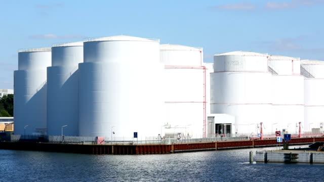 Storage tanks at harbor video