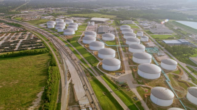 AERIAL Storage tanks of an oil refinery in Houston, TX