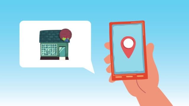 vídeos de stock e filmes b-roll de store building facade with smartphone animation - shop icon