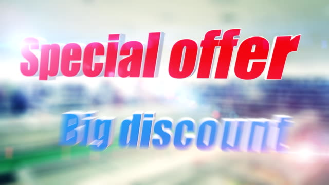 Store interior with large discount words video