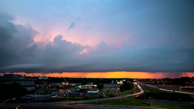 Storm approaching city of Hartford in Connecticut at sunset video