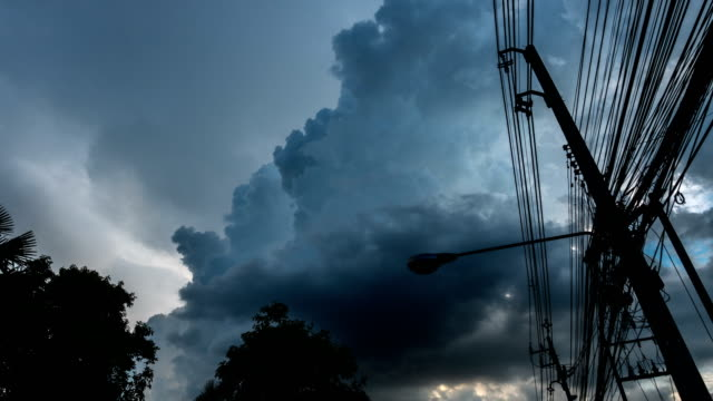 T/L Storm cloud with electrical power pole 4K Time lapse Storm cloud with electrical power pole power line stock videos & royalty-free footage