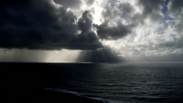 Storm Clouds Approach Over Ocean - Time Lapse video