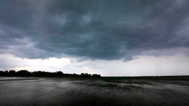 storm clouds over the river video