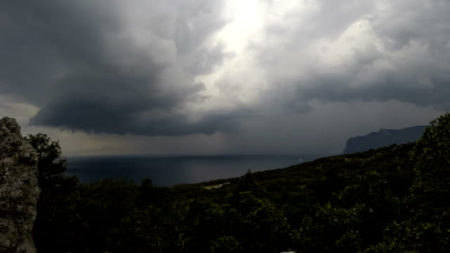 Storm clouds over the sea video
