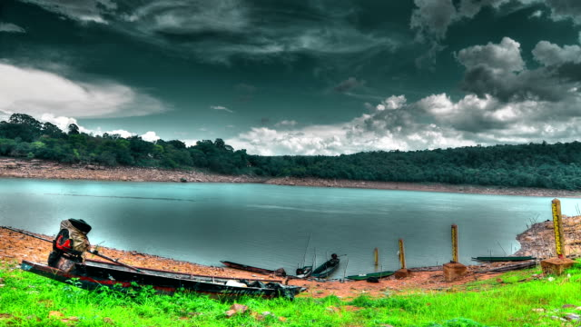 Storm cloudy Rain at Reservoir Time Lapse (HDR) video
