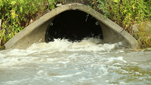 Storm Drain Culvert with Raging Water