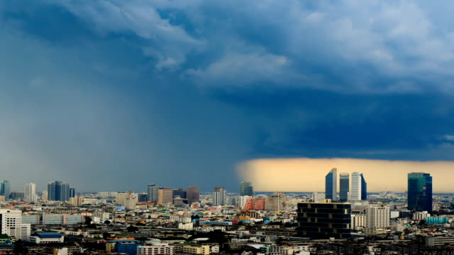 Storm is coming in the city timelapse in bangkok thailand video