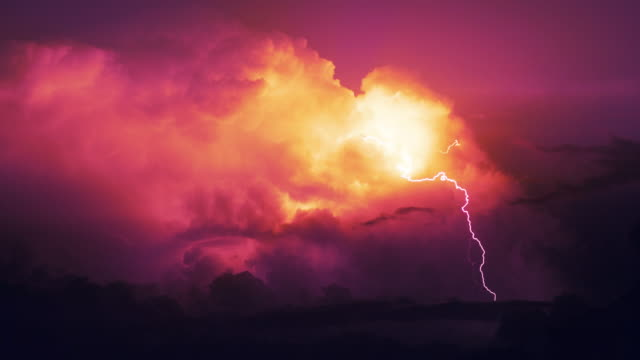 Storm on a rocky coast. Lightning