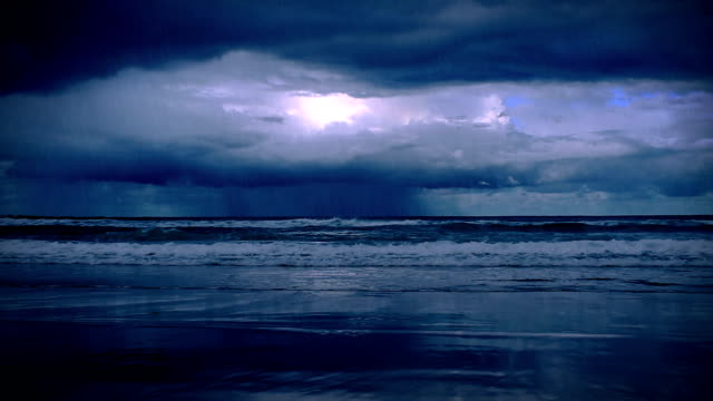 storm on the sea with lightnings video