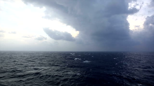 Storm rages above Mediterranean Sea, ship view video