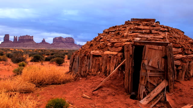 Storm timelapse over Native Hut at Monument Valley Tribal Park video