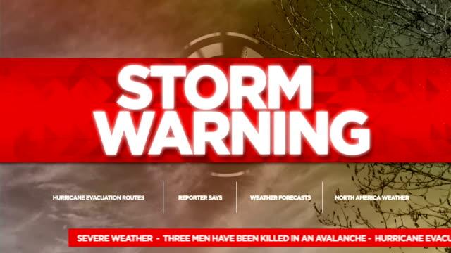 vídeos de stock, filmes e b-roll de título de gráficos de tv transmissão de aviso de tempestade - meteorologia