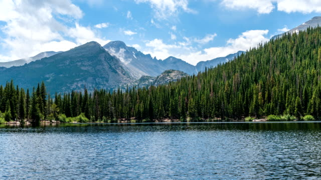 Stormy Mountain Lake - Time-lapse video of Summer storm clouds rolling over rugged Longs Peak and Glacier Gorge, towering at south shore of Bear Lake, Rocky Mountain National Park, Colorado, USA.