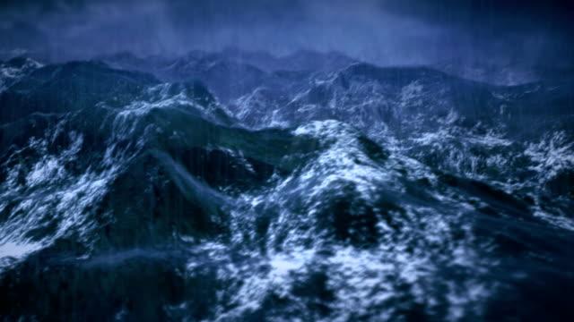 Stormy ocean with rain and lightning, shaky camera.