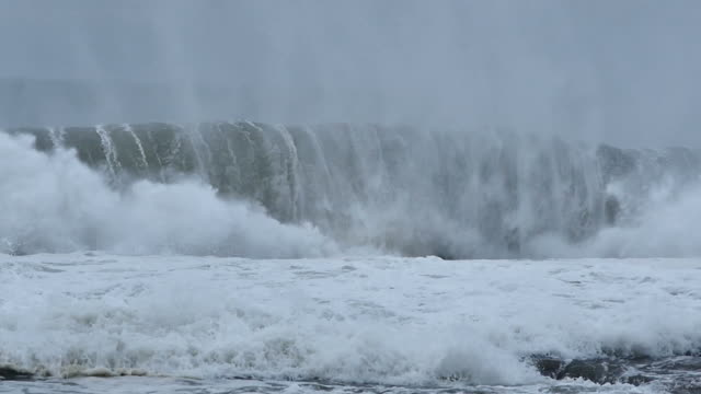 Stormy seas during bad weather cyclone hurricane Winds video