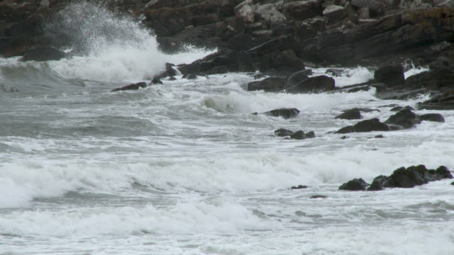 Stormy waves in south west Scotland Footage shot at 50fps and interpreted at 25fps to give slow motion dumfries and galloway stock videos & royalty-free footage
