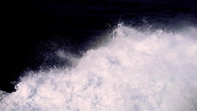 Stormy waves of the Mediterranean Sea after the Yacht in Monaco, Slowmotion