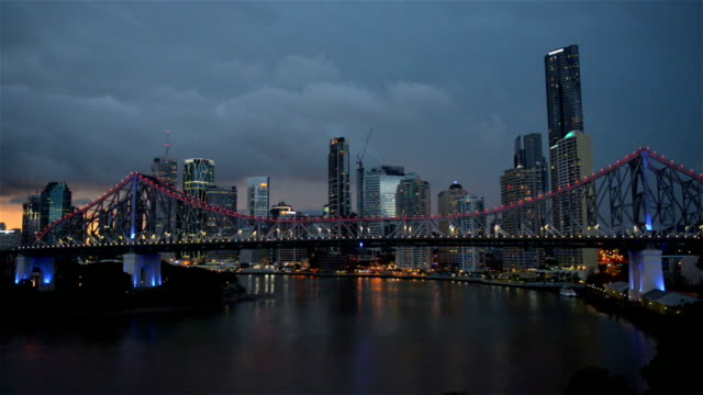 Story Bridge Brisbane during night video